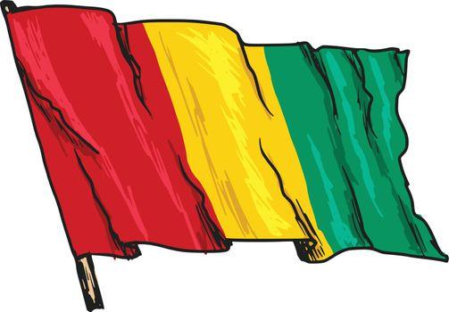 hand drawn, sketch, illustration of flag of Guinea