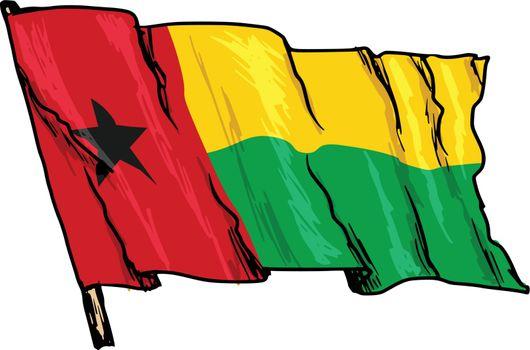 hand drawn, sketch, illustration of flag of Guinea-Bissau