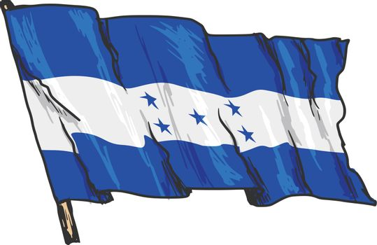 hand drawn, sketch, illustration of flag of Honduras