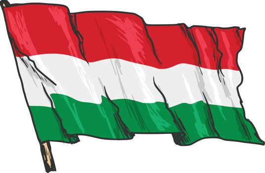 hand drawn, sketch, illustration of flag of Hungary
