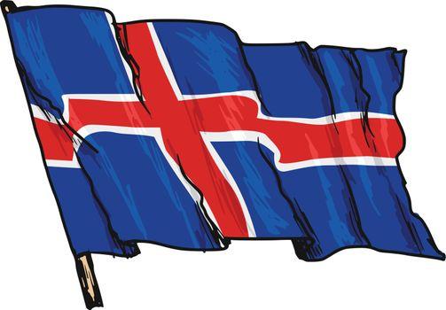 hand drawn, sketch, illustration of flag of Iceland