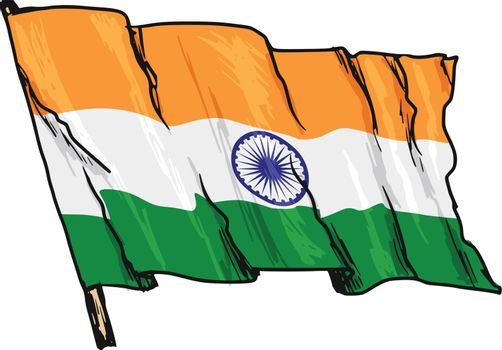 hand drawn, sketch, illustration of flag of India