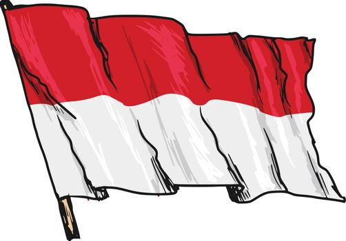 hand drawn, sketch, illustration of flag of Indonesia
