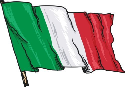 hand drawn, sketch, illustration of flag of Italy