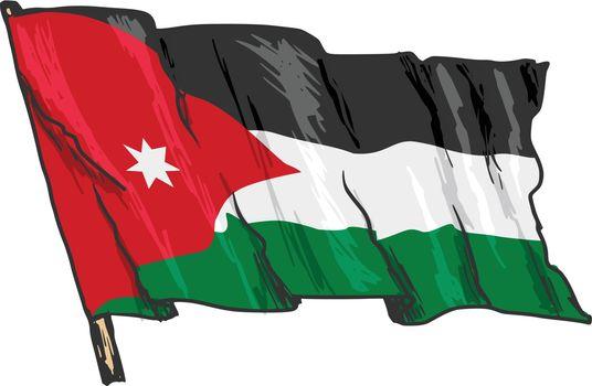 hand drawn, sketch, illustration of flag of Jordan
