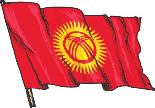 hand drawn, sketch, illustration of flag of Kyrgyzstan
