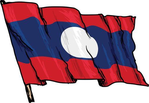 hand drawn, sketch, illustration of flag of Laos