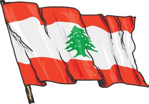hand drawn, sketch, illustration of flag of Lebanon