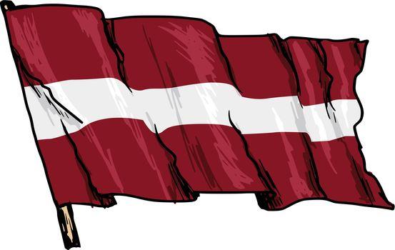 hand drawn, sketch, illustration of flag of Latvia