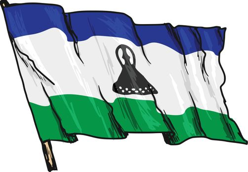hand drawn, sketch, illustration of flag of Lesotho