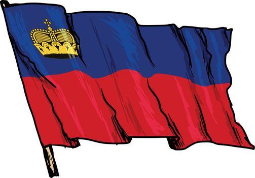 hand drawn, sketch, illustration of flag of Liechtenstein