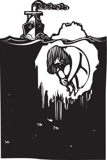 Woodcut style image of a steam ship approaching an iceberg with a man frozen inside.