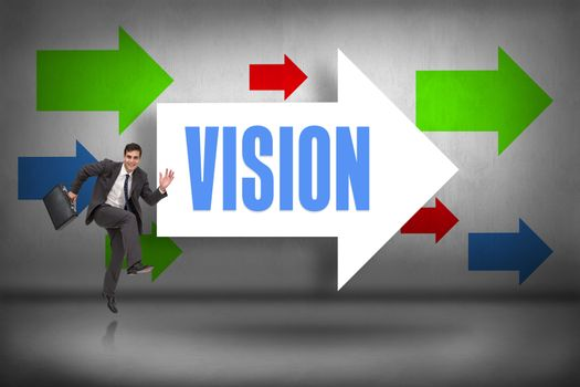Vision against arrows pointing