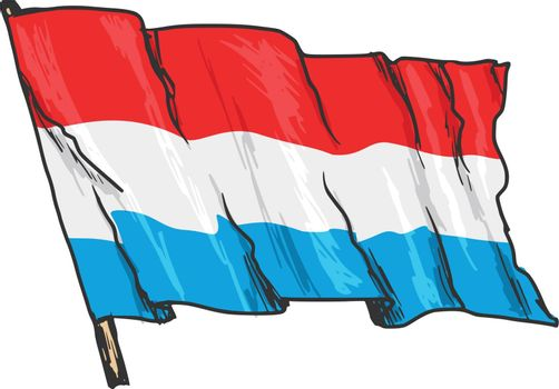 hand drawn, sketch, illustration of flag of Luxembourg