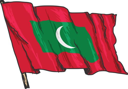 hand drawn, sketch, illustration of flag of Maldives