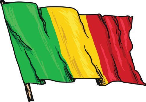 hand drawn, sketch, illustration of flag of Mali