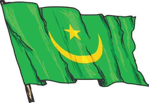 hand drawn, sketch, illustration of flag of Mauritania