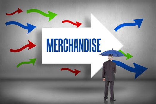 Merchandise against arrows pointing