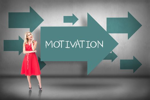 Motivation against blue arrows pointing