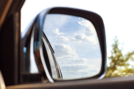 view on the mirror of  the car