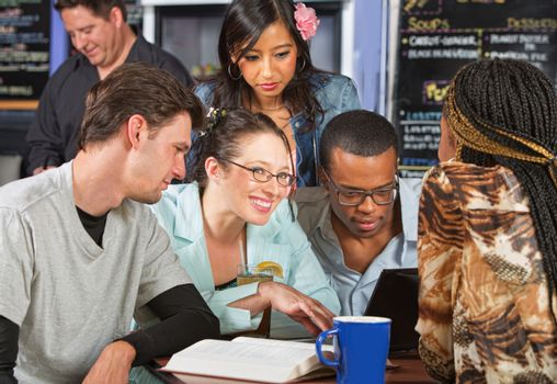Group of Students in Coffee House