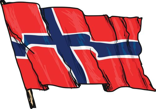 hand drawn, sketch, illustration of flag of Norway