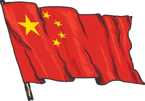 hand drawn, sketch, illustration of flag of China