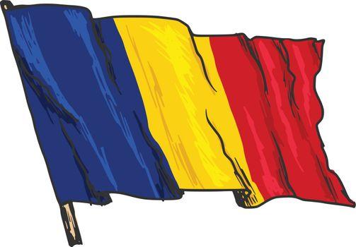 hand drawn, sketch, illustration of flag of Romania