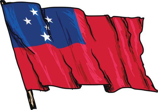 hand drawn, sketch, illustration of flag of Samoa