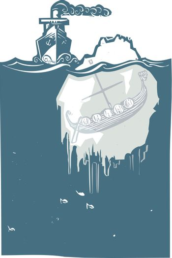 Woodcut style image of a steam ship approaching an iceberg with a viking Longship frozen inside.