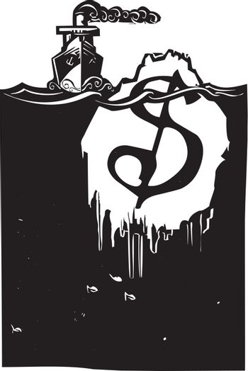 Woodcut style image of a steam ship approaching an iceberg with a dollar sign on it.