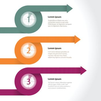 Curling arrows infographic with countdowns