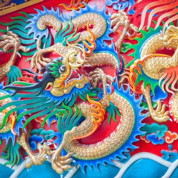 China Dragon statue on the wall background