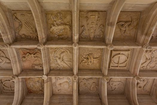 symbolic coffered ceiling of Dampierre-sur-Boutonne castle in charente maritime , France