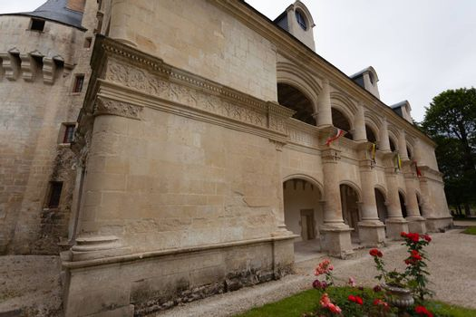 Main facade of Dampierre-sur-Boutonne castle in charente maritime , France