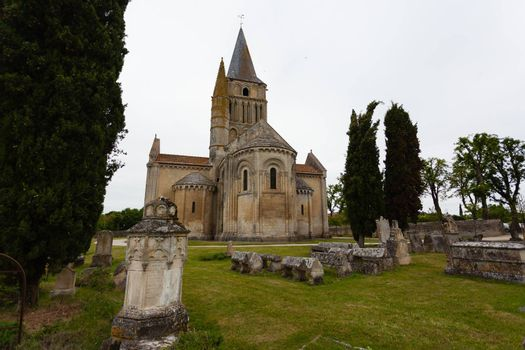 Full view of Aulnay de Saintonge church in Charente Maritime region of France