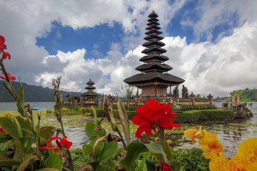 Ulun Danu temple at Beratan Lake in Bali Indonesia