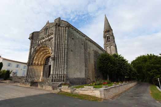 Full view  of Notre-Dame de l'Assomption de Fenioux church in Charente Maritime region of France