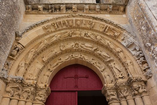 Main entrance of Aulnay de Saintonge church in Charente Maritime region of France