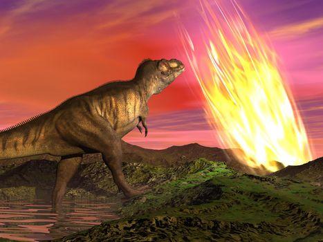 Extinction of dinosaurs - 3D render