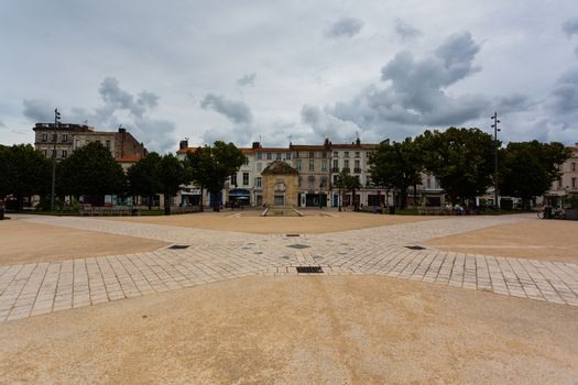 Full view of the main square in trhe town of Rochefort in charente maritime region of France