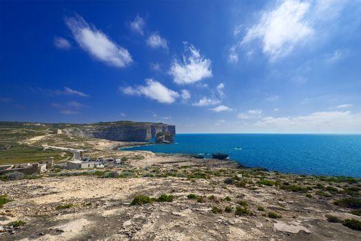 Coastline near Azure Window on Gozo Island