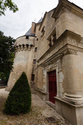 Lateral facade of Dampierre-sur-Boutonne castle in charente maritime , France