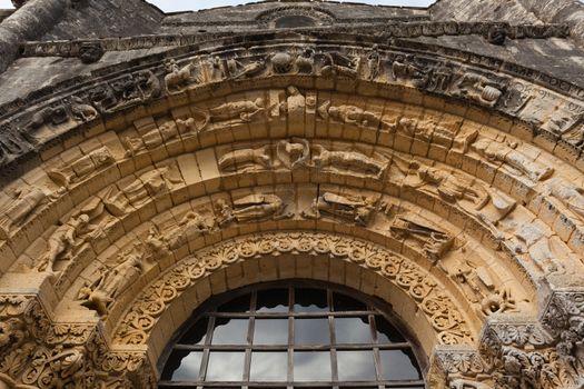 West facade archivolts Detail  of Notre-Dame de l'Assomption de Fenioux church in Charente Maritime region of France