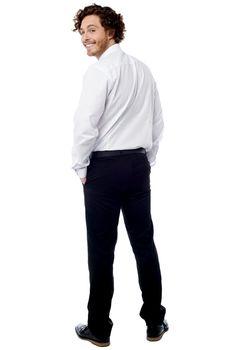 Smart business executive turning back