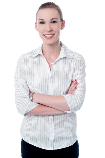 Confident casual smiling business woman