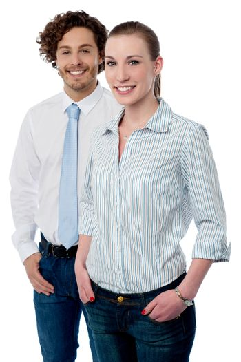 Two young business executives posing