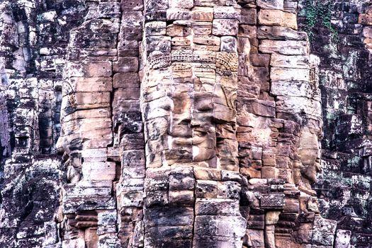 Ba-yon face at Angkor Thom.