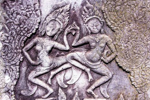 Apsara carving in Bayon Temple, Angkor