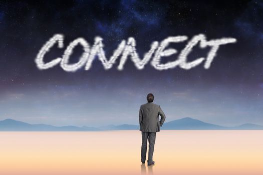 Connect against serene landscape